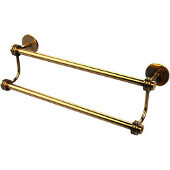 Satellite Orbit Two 38-1/2 Inch Double Towel Bar, Unlacquered Brass