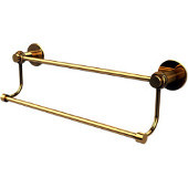 Mercury Collection 36 Inch Double Towel Bar with Twist Accents, Unlacquered Brass
