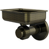 Mercury Collection Wall Mounted Soap Dish with Groovy Accents, Antique Brass