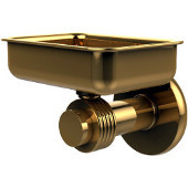 Mercury Collection Wall Mounted Soap Dish with Groovy Accents, Polished Brass