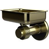 Mercury Collection Wall Mounted Soap Dish with Groovy Accents, Satin Brass