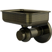 Mercury Collection Wall Mounted Soap Dish with Twisted Accents, Antique Brass