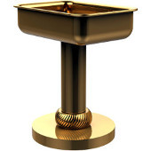 Vanity Top Soap Dish with Twisted Accents, Unlacquered Brass