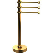 Vanity Top 3 Swing Arm Guest Towel Holder with Twisted Accents, Polished Brass