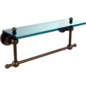 Astor Place Collection 16'' Shelf with Towel Bar, Premium Finish, Antique Brass