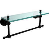 Astor Place 16 Inch Glass Vanity Shelf with Integrated Towel Bar, Matte Black