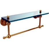 Astor Place Collection 16'' Shelf with Towel Bar, Standard Finish, Polished Brass
