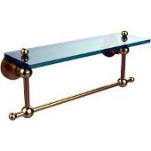 Astor Place Collection 16'' Shelf with Towel Bar, Premium Finish, Satin Brass