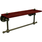 Astor Place Collection 16 Inch Solid IPE Ironwood Shelf with Integrated Towel Bar, Antique Brass