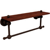 Astor Place Collection 16 Inch Solid IPE Ironwood Shelf with Integrated Towel Bar, Antique Bronze