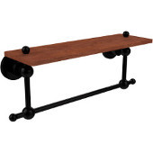 Astor Place Collection 16 Inch Solid IPE Ironwood Shelf with Integrated Towel Bar, Matte Black