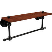 Astor Place Collection 16 Inch Solid IPE Ironwood Shelf with Integrated Towel Bar, Oil Rubbed Bronze