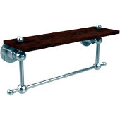 Astor Place Collection 16 Inch Solid IPE Ironwood Shelf with Integrated Towel Bar, Polished Chrome