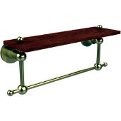 Astor Place Collection 16 Inch Solid IPE Ironwood Shelf with Integrated Towel Bar, Satin Brass