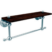 Astor Place Collection 16 Inch Solid IPE Ironwood Shelf with Integrated Towel Bar, Satin Chrome