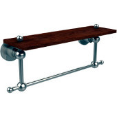 Astor Place Collection 16 Inch Solid IPE Ironwood Shelf with Integrated Towel Bar, Satin Nickel