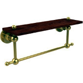 Astor Place Collection 16 Inch Solid IPE Ironwood Shelf with Integrated Towel Bar, Unlacquered Brass