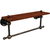 Astor Place Collection 16 Inch Solid IPE Ironwood Shelf with Integrated Towel Bar, Venetian Bronze