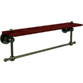 Astor Place Collection 22 Inch Solid IPE Ironwood Shelf with Integrated Towel Bar, Antique Brass