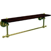 Astor Place Collection 22 Inch Solid IPE Ironwood Shelf with Integrated Towel Bar, Polished Brass