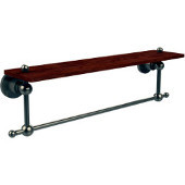 Astor Place Collection 22 Inch Solid IPE Ironwood Shelf with Integrated Towel Bar, Antique Pewter