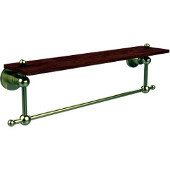 Astor Place Collection 22 Inch Solid IPE Ironwood Shelf with Integrated Towel Bar, Satin Brass