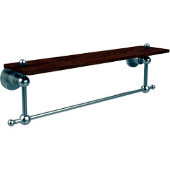 Astor Place Collection 22 Inch Solid IPE Ironwood Shelf with Integrated Towel Bar, Satin Nickel