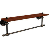 Astor Place Collection 22 Inch Solid IPE Ironwood Shelf with Integrated Towel Bar, Venetian Bronze