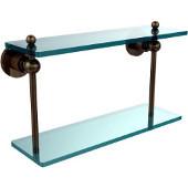 Astor Place Collection 16'' Double Glass Shelf, Premium Finish, Antique Brass