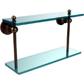 Astor Place Collection 16'' Double Glass Shelf, Premium Finish, Brushed Bronze