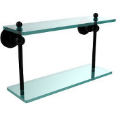 Astor Place Collection 16 Inch Two Tiered Glass Shelf, Matte Black