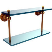 Astor Place Collection 16'' Double Glass Shelf, Standard Finish, Polished Brass