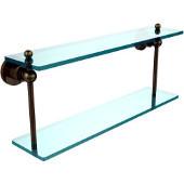 Astor Place Collection 22'' Double Glass Shelf, Premium Finish, Antique Brass