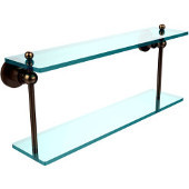 Astor Place Collection 22'' Double Glass Shelf, Premium Finish, Brushed Bronze