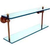 Astor Place Collection 22 Inch Two Tiered Glass Shelf, Unlacquered Brass