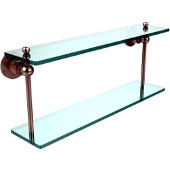 Astor Place Collection 22'' Double Glass Shelf, Premium Finish, Polished Nickel