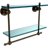 Astor Place Collection 16'' Double Shelf w/Towel Bar, Premium Finish, Antique Brass