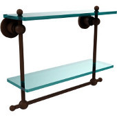 Astor Place Collection 16'' Double Shelf w/Towel Bar, Premium Finish, Rustic Bronze