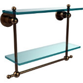 Astor Place Collection 16'' Double Shelf w/Towel Bar, Premium Finish, Brushed Bronze