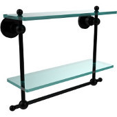 Astor Place Collection 16 Inch Two Tiered Glass Shelf with Integrated Towel Bar, Matte Black