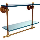 Astor Place Collection 16 Inch Two Tiered Glass Shelf with Integrated Towel Bar, Unlacquered Brass