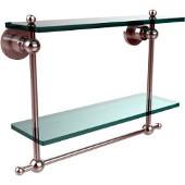 Astor Place Collection 16'' Double Shelf w/Towel Bar, Standard Finish, Polished Chrome