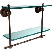 Astor Place Collection 16'' Double Shelf w/Towel Bar, Premium Finish, Antique Pewter