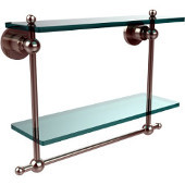 Astor Place Collection 16'' Double Shelf w/Towel Bar, Premium Finish, Polished Nickel
