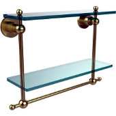Astor Place Collection 16'' Double Shelf w/Towel Bar, Premium Finish, Satin Brass