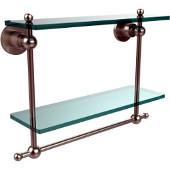 Astor Place Collection 16'' Double Shelf w/Towel Bar, Premium Finish, Satin Nickel