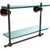 Astor Place Collection 16'' Double Shelf w/Towel Bar, Premium Finish, Venetian Bronze