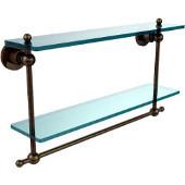 Astor Place Collection 22'' Double Shelf w/Towel Bar, Premium Finish, Antique Brass