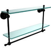 Astor Place Collection 22 Inch Two Tiered Glass Shelf with Integrated Towel Bar, Matte Black