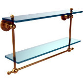 Astor Place Collection 22 Inch Two Tiered Glass Shelf with Integrated Towel Bar, Unlacquered Brass